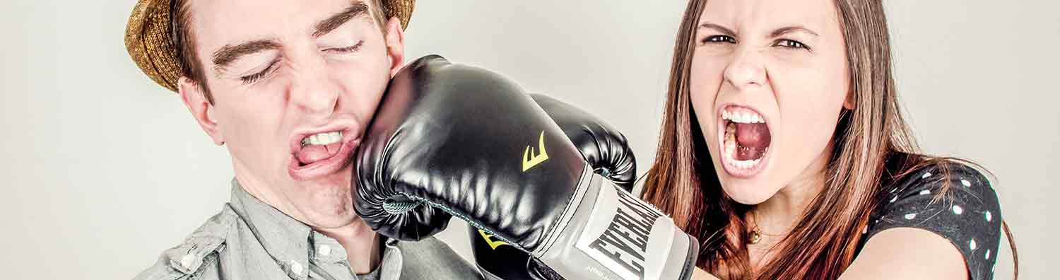 Woman boxing husband due to divorce and separation proceedings.